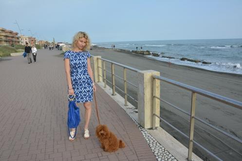 Blue ASOS Dress. Closet Tie Back Dress with Pockets in Jewel Print